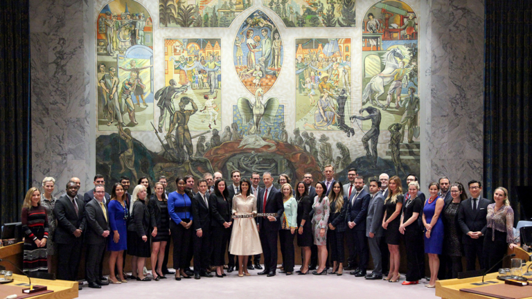 Ambassador Nikki Haley, Amb Jonathan Cohen and Amb Kelley Currie with USUN Presidency Staff
