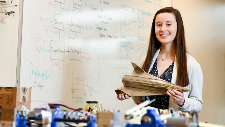 Maloney, an aerospace engineering major, spends much of her time in labs on Centennial Campus.